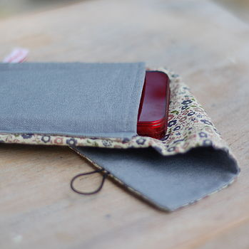 Handmade Grey Linen Phone Case