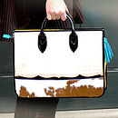 Colour Block Cow Hide Document Bag