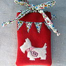 Little Dog Phone Cosy with Vintage Floral Bunting