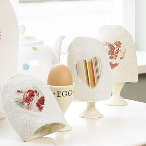 Vintage Linen Heart Egg Cosy - egg cups & cosies