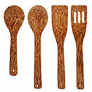 Set Of Four Coco Wood Cooking Utensils