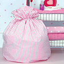Gingham laundry bag (pink)
