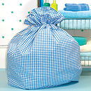 Gingham Laundry Bag (blue)