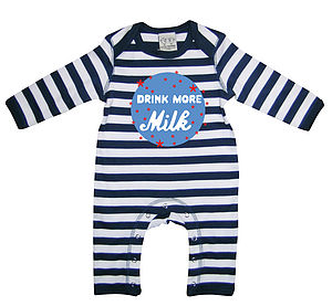 Drink More Milk Baby Playsuit With Optional Giftset - gift sets