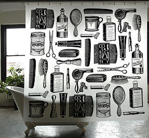 Barber Shop Shower Curtain - bedroom