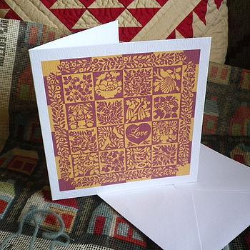 Romantic Love Heart Quilt Card