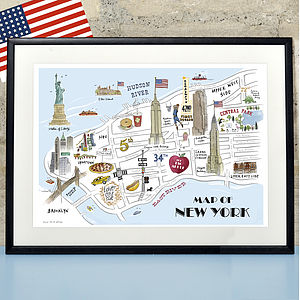 Alice Tait 'Map Of New York' Print - personalised