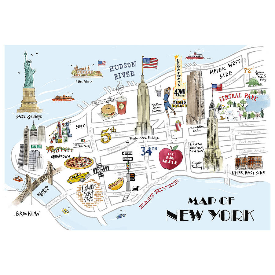 alice tait map of new york print by the alice tait shop – New York City Tourist Map
