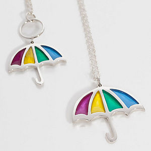 Silver And Resin Umbrella Pendant Necklace