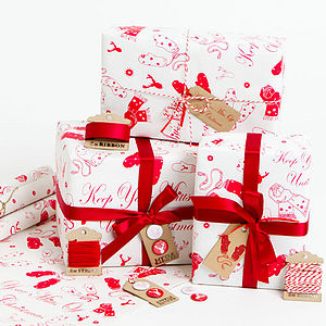 'Mitts Off' White Christmas Wrapping Paper - ribbon & wrap