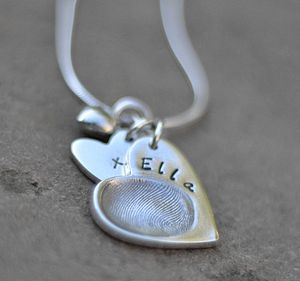 Personalised Fingerprint Charm Necklace - for mothers