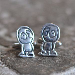Child's Doodle Silver Cufflinks