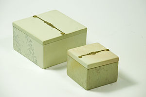 Natural Handmade Soapstone Square Boxes - bedroom
