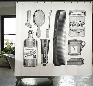 Apothecary Canvas Shower Curtain - bathroom