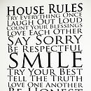 Personalised 'House Rules' Wall Sticker