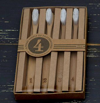 'Numbers' Bamboo Toothbrushes Set Of Four