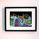 London Music type print framed