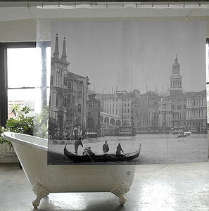 Venice City Shower Curtain - bedroom