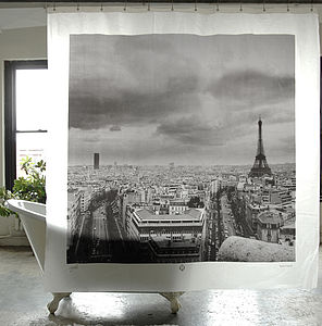 Paris City Shower Curtain - bedroom
