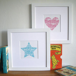 Coloured Name Heart - posters & prints