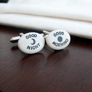 'Good Morning/Good Night' Porcelain Cufflinks