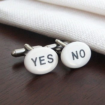 'Yes/No' Porcelain Cufflinks
