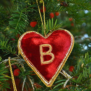 Monogrammed Velvet Heart - tree decorations
