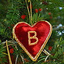 Christmas Embroidered Velvet Heart Decoration