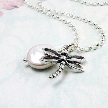 Dragonfly And Pearl Sterling Silver Necklace
