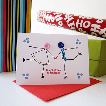 'Skating' Button Christmas Card