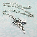 Sterling Silver Wing And Hearts Necklace