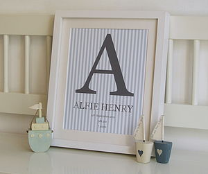 Personalised Baby Name Monogram Print - personalised