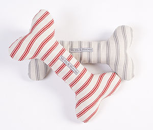 Ticking Stripe Squeaky Bone Toy - top for dogs