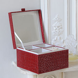 Crocodile Print Faux Leather Jewellery Case - jewellery storage & trinket boxes