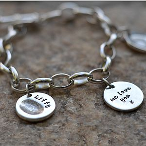 Charm Bracelet with Fingerprint Charms