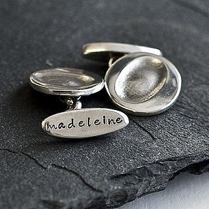 Personalised Chain link Fingerprint cufflinks - gifts for grandfathers