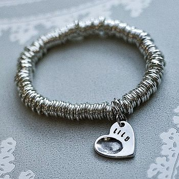 Silver Stretch Ring Bracelet With Fingerprint Charm