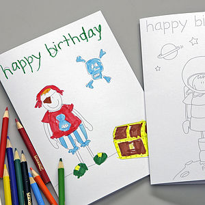 Pack Of Two Boy's Birthday Colouring In Cards - make your own