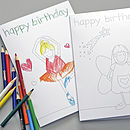 Two Girl's Birthday Colouring In Cards