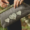 Embroidered Lace Hearts Clutch Bag Grey Linen