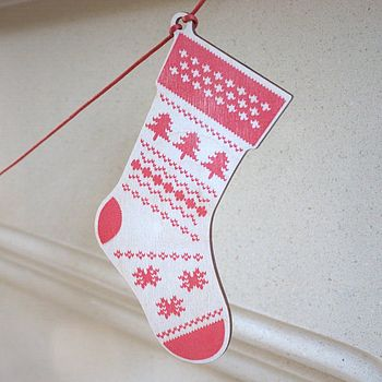 Set Of Five Wooden Christmas Stockings