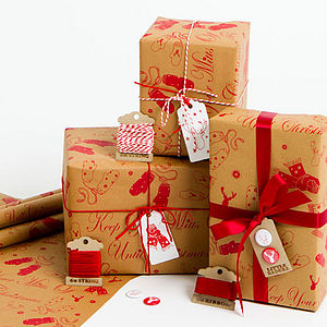 'Mitts Off' Brown Christmas Wrapping Paper - wrapping paper