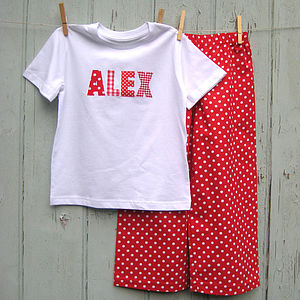 Personalised Applique Red Spot Pyjama