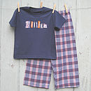 Personalised Navy/Orange Check Pyjama