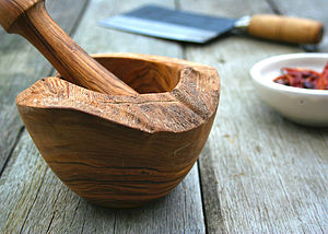 Rustic Olive Wood Pestle And Mortar - cooking & food preparation