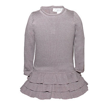 French Design Girls Cashmere Flounce Dress