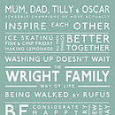 Personalised Family Values Print Sage