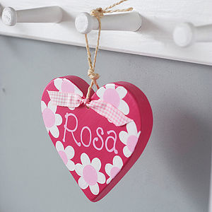 Personalised Daisy Hanging Heart - door plaques & signs