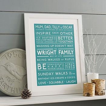 Personalised Family Values Print Teal
