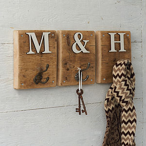 Rustic Wooden Letter Hook - laundry room